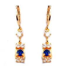 White Blue Round Cubic Zircon Gold Plated Lady Girl Link Drop Dangle Earrings