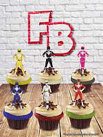Power Rangers Character Mix Edible Wafer Cake Toppers. Birthday Fun Kids