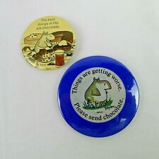 2 Sandra Boynton Pin Back Buttons Best Things In Life Are... Send Chocolate