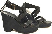GUCCI BLACK LOGO FABRIC PLATFORM WEDGE HEEL LEATHER STRAP CHUNK SANDALS SHOES 8B