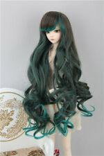 1/3 1/4 1/6 BJD Wig Long Curly Oblique Bangs Brown&Green Double Colors Gradient