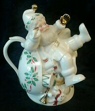 Lenox Holiday Santa Collection  Santa Teapot Figurine Gold Accent