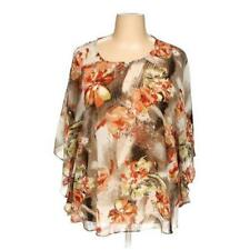MAGGIE BARNES 2X FLORAL POLY BUTTERFLY SLEEVE SEMI SHEER BRN BLK ORANGE GRN IVOR
