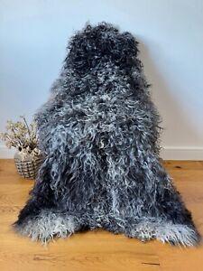 XXL Large Genuine Gotland Sheepskin Rug Grey/Silver/Charcoal Curly Real Fur