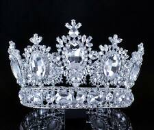 4 INCHES HIGH BEAUTY QUEEN CLEAR CRYSTAL RHINESTONE LG TIARA CROWN PAGEANT T2131