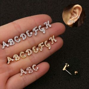 Zircon Letter Ear Bone Nail Tragus Earring Helix Cartilage Hoop Piercing Jewelry