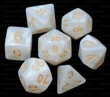 7 Piece Polyhedral Dice Set - Albescent Altar White Marble - Brown Dice Bag