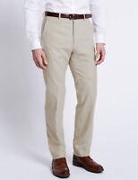 M&S Linen Blend Trousers Light Stone Mens Regular Fit 46W 48W 31L NEW