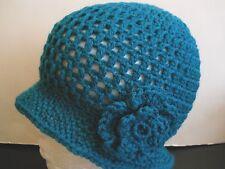 TEAL BLUE HAND MADE CROCHET HAT CAP CLOCHE CHEMO GATSBY FLOWER ADULT TEEN 1920s