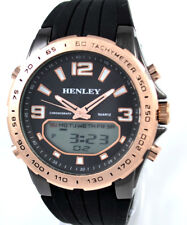 Henley Mens Ana-Digi Chrono Sports EL Watch Rose Goldtone & Black Silicone Strap