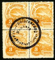 Hamburg Stamps # 3pf VF Used revenue block of 4