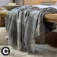 Luxury Mohair Wool Feel Slate Grey Silver Tartan Check Bed Sofa Blanket Throw
