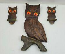 Vintage Mid Century Carved Wood CRYPTOMERIA OWLs Wall Hangings Art Decor Idaho
