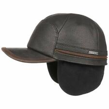 STETSON Leather Cap Byers Ear Flaps Black 16 New