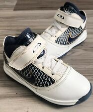 NIKE ZOOM👑LEBRON 7 (VII) SHOES WHITE/NAVY/GOLD TODDLERS SIZE 9C (383923-111)
