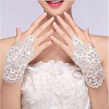 Lace Wedding Gloves elegant white Fingerless Short Paragraph Rhinestone Bridal K