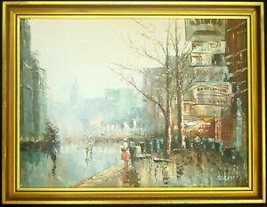 French Retro Original Oil Painting, Caroline Burnett, Paris Street Scene.