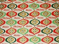VTG MERRY CHRISTMAS 1960 SASHEEN WRAPPING PAPER 2 YARDS ORNAMENTS RED GOLD GRN