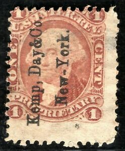 USA Revenue Stamp 1c Private Security Overprint? Proprietary Used ORANGE321