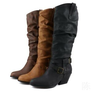Women's Knee High Boots Block Low Heel Ladies Pull on Cowboy Casual Shoes 34-48