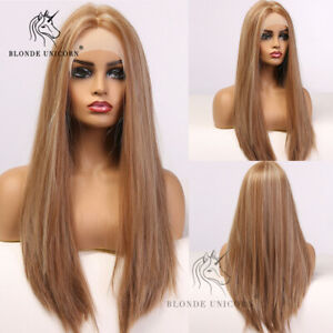 Lace Front Highlights Blonde Brown Wigs for Women Long Silk Straight Synthetic