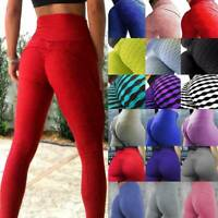 Women Ruched Push Up Leggings Yoga Pants Anti-Cellulite Sports Stretch Trousers