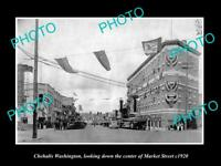 OLD LARGE HISTORIC PHOTO OF CHEHALIS WASHINGTON, MARKET STREET & STORES c1920