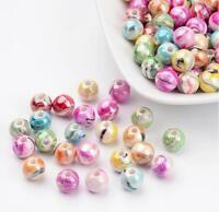 CANDY STRIPED ROUND ACRYLIC BEADS 8mm 100 Per Bag TOP QUALITY ACR1