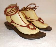 John A FRYE Womens Sz 8.5 Wood Lace Up Tie Around Leg Sandals Gladiator