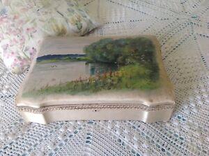 Antique Vintage, French Boudoir / Beautiful Silk Fabric Chocolate Box