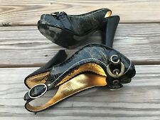 Naughty Monkey Women Heel Shoe Open Toe Black Platform Leather Upper German Sole