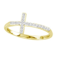 0.12ctw Diamond Cross Ring 14k Yellow Gold Size 6 NEW with TAGS Handmade in USA