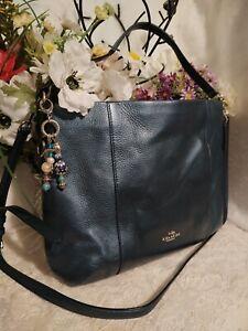 Coach 35809 Dark Blue Teal ISABELLE  Leather Hobo Handbag Purse  Crossbody