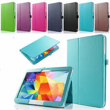 """PU Leather Folio Case Stand Cover For Samsung Galaxy Tab 4 10.1"""" SM-T530 Tablet"""