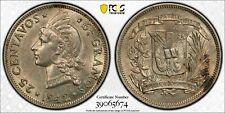 1942 Dominican Republic 25 Centavos PCGS AU58 Lot#G158 Silver!