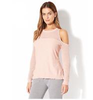 New York &Co. MIXED-STITCH COLD-SHOULDER SWEATER Blush Size Medium Item 4357 J
