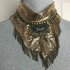 $48 NEW Free People Grace Gold tone Mesh Chainmail Choker Necklace Sexy fringe