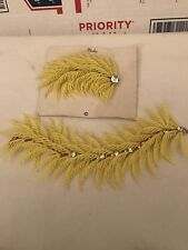 Spectacular Vintage Yellow Plastic Feather Bracelet And Pin Set Vintage Retro