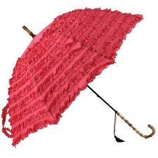 FiFi Frilly Pink With Tassel Vintage Stick Umbrella Wedding Parasol Bridal Gift