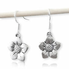 925 Sterling Silver Hook earring with flower charm Pendant dangle drop