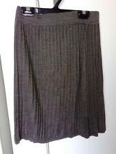 DESIGN STUDIO Brown Strip Knit Rib Pull Up Elastic Waist Wool Blend Skirt SZ M