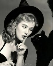 Retro Witch Art Print 8 x 10 - Halloween - With Black Cat - 1950's Pin Up Wicca