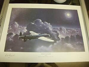 Moonlit Lancaster Bomber, RARE Aviation Print Lt. Etd,WWII Signed copy VC