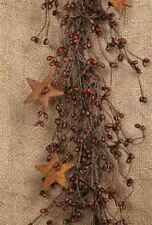 """Burgundy Pea Berry Rusty Metal Stars Floral Garland 42"""" Long Primitive Accent"""