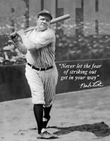 "Babe Ruth No Fear - Vintage Retro Tin Metal Sign, 13"" x 16"""