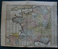 Carte Geographique de France hand coloured original published 1720