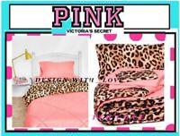 5p Victoria's Secret Pink Leopard REVERSIBLE Bed in Bag Comforter Sheet Set TWIN
