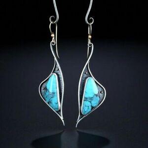 Fashion Boho Drop Earrings Women 925 Silver Jewelry Turquoise Gift A Pair/set