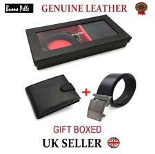 Designer Mens Leather Wallet & Belt Quality Gift Set Credit Card Cash Holder