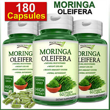 180 Capsules MORINGA OLEIFERA Natural Multi Vitamin Vegetarian No Powder ORGANIC